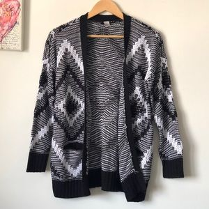 Geometric knit open-front cardigan | H&M | size XS